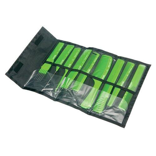 Купить Набор расчесок Dewal , в черном чехле, цвет: салатовый, 9 штук