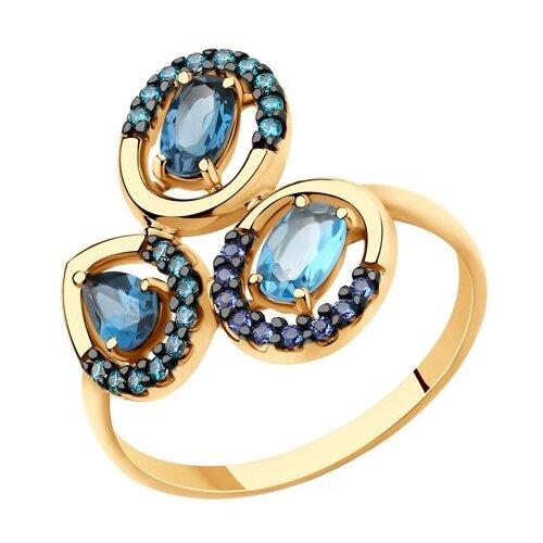 SOKOLOV Кольцо из золота с голубым и синими топазами и фианитами 715698, размер 18.5