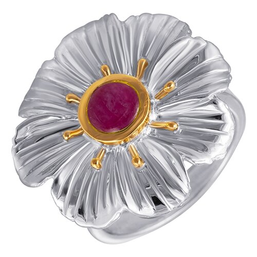 Фото - JV Серебряное кольцо с рубином RK-1625-RB-KO-RU-WG, размер 17.5 jv серебряные серьги с рубином ek 1107 rb sr ru wg