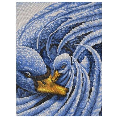 Купить Лебеди (рис. на сатене 29х39) (круговая техника) 29х39 Конек 9528, Конёк, Канва