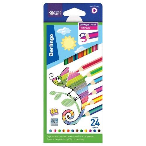 Купить Berlingo Карандаши цветные SuperSoft 2 in 1 12 штук 24 цвета (SS03924), Цветные карандаши