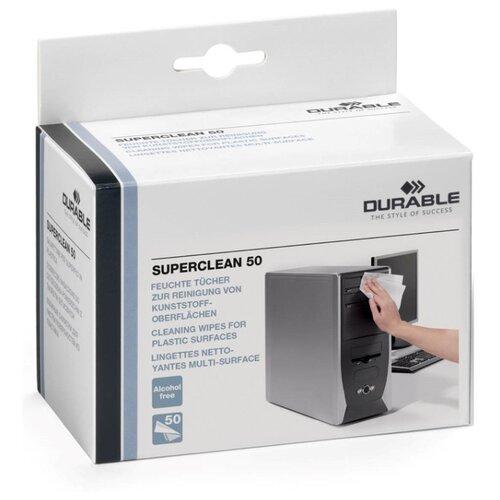Фото - Салфетки для пластиковых поверхностей DURABLE SUPERCLEAN, 50шт./в индивидуальной уп. антибактериальные салфетки для поверхностей nv office мягкая упаковка 180х110 мм 15шт