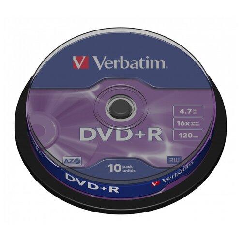 Диск DVD+R(плюс) VERBATIM 4,7 Gb 16x, Cake Box, 10 штук