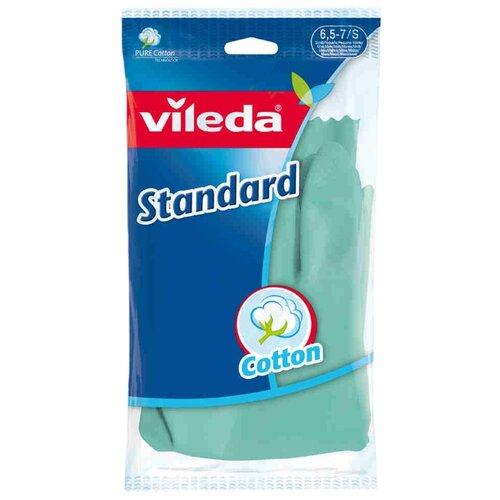 Фото - Перчатки Vileda Standard, 1 пара, размер S, цвет зеленый перчатки женские fabretti цвет черный зеленый 12 66 1 15 black green размер 7 5