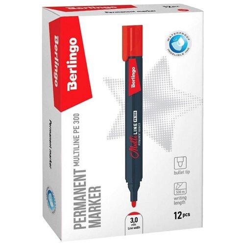 Купить Berlingo Набор маркеров Multi Line, красный, 12 шт. (PE300), Маркеры