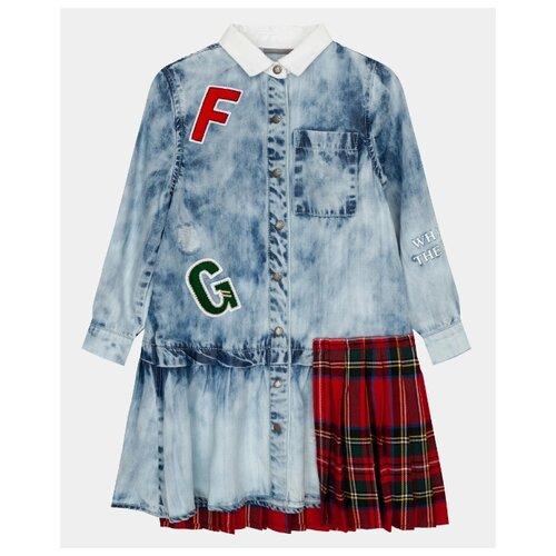 Платье Gulliver размер 98, голубой платье для девочки let s go цвет голубой 8150 размер 98