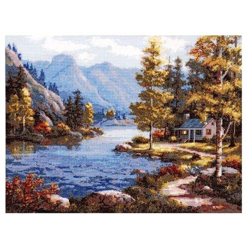 Купить Hobby & Pro Набор для вышивания Пейзаж у реки 42 х 32 см (716), Наборы для вышивания