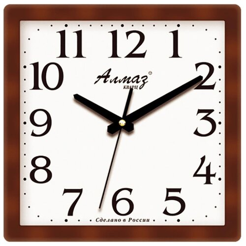 Часы настенные кварцевые Алмаз M17 коричневый/белый