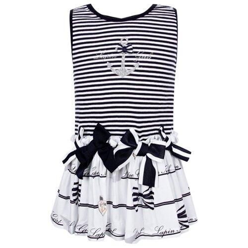 Платье Lapin House размер 80, полоска/белый/синий