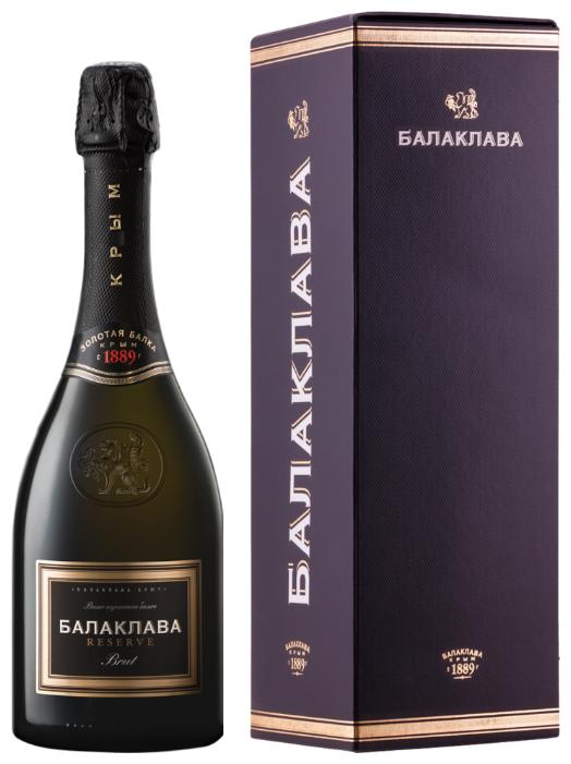 Игристое вино Золотая Балка Балаклава Brut Reserve 0.75 л, подарочная упаковка