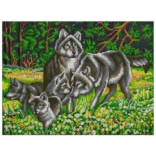 Купить Волчья семья (рис. на сатене 29х39) 29х39 Конек 9838, Конёк, Канва