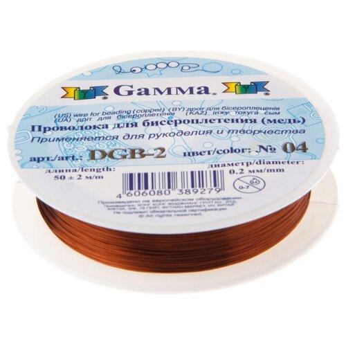 Купить Проволока для бисера Gamma , металл (цвет: под медь), арт. DGB-2 04, 0, 2 мм x 50±2 м, Фурнитура для украшений