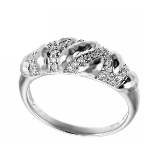 ELEMENT47 Кольцо из серебра 925 пробы с кубическим цирконием SR01739CZZSW-1_001_WG, размер 17.75