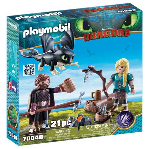 Купить Набор с элементами конструктора Playmobil Dragons 70040pm Иккинг и Астрид, Конструкторы