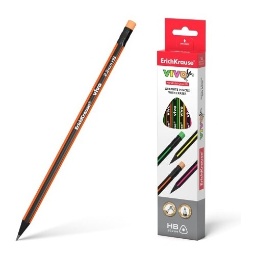 Купить ErichKrause Набор чернографитных трехгранных карандашей с ластиком VIVO HB 12 шт (45622), Карандаши