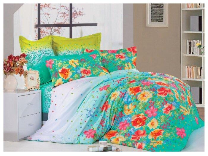 Постельное белье семейное СайлиД B-136, сатин зеленый/голубой/розовый