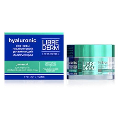 Librederm Hyaluronic Moisturizing Mattifying Day Cica-Cream for Oily Skin Гиалуроновый дневной cica-крем для лица увлажняющий матирующий для жирной кожи, 50 мл
