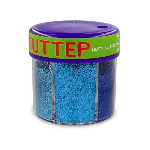Купить Глиттер для декора с дозатором №5, 60 грамм, синий (6 цветов), Альт, Декоративные элементы и материалы