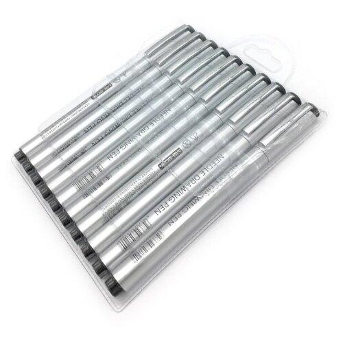 цена на Superior Набор линеров 0.05 мм, 0.1 мм, 0.2 мм, 0.3 мм, 0.4 мм, 0.5 мм, 0.6 мм, 1 мм, 2 мм (MS-807A), черный цвет чернил