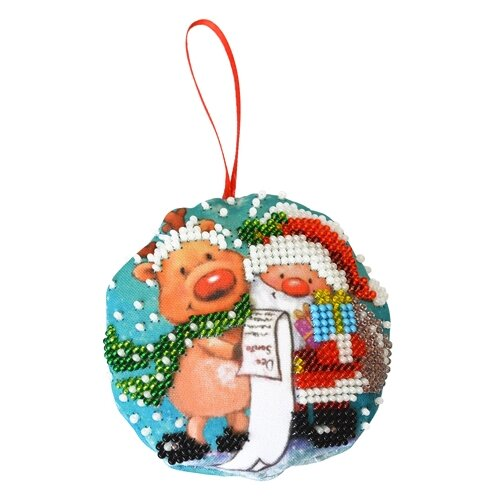 Созвездие Набор для вышивания бисером Новогодняя игрушка. Дедушка мороз 8, 5 х 8, 5 см (БИ-100), Наборы для вышивания  - купить со скидкой
