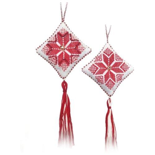 ZENGANA Набор для вышивания бисером и нитками Игрушка Рождественская звезда (красная) 7 х 7 см (M-008)