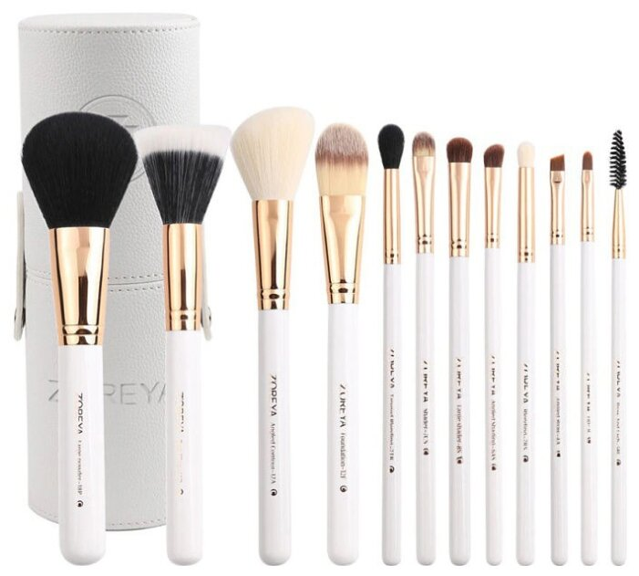 Набор кистей Zoreya Cosmetics Travel Makeup Brush Set ZS12, 12 шт.