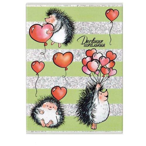 Феникс Дневник школьный Ежики с сердечками 48911 зеленый
