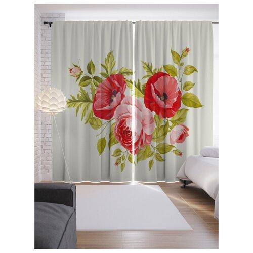 Портьеры JoyArty Стена из роз на ленте 265 см (p-29399)