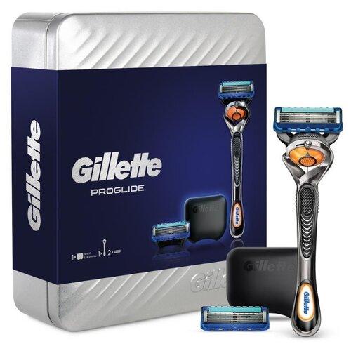 Фото - Набор Gillette подарочный в металлической коробке: чехол, бритвенный станок ProGlide Flexball, сменные кассеты 2 шт. набор gillette fusion proglide flexball gil 81628134