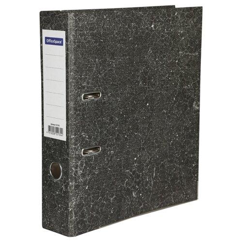 Купить OfficeSpace Папка-регистратор с металлической окантовкой A4, мрамор, 70 мм черный, Файлы и папки