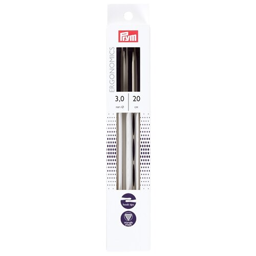 Купить Спицы Prym чулочные Ergonomics, диаметр 3 мм, длина 20 см, алебастровый белый