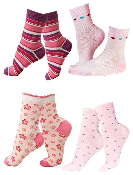 Купить Носки IDILIO комплект 4 пары размер 16-18 см, розовый/светло фиолетовый по низкой цене с доставкой из Яндекс.Маркета (бывший Беру)