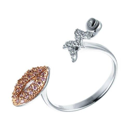 ELEMENT47 Кольцо из серебра 925 пробы с кубическим цирконием R140160C_001_WG, размер 16.5