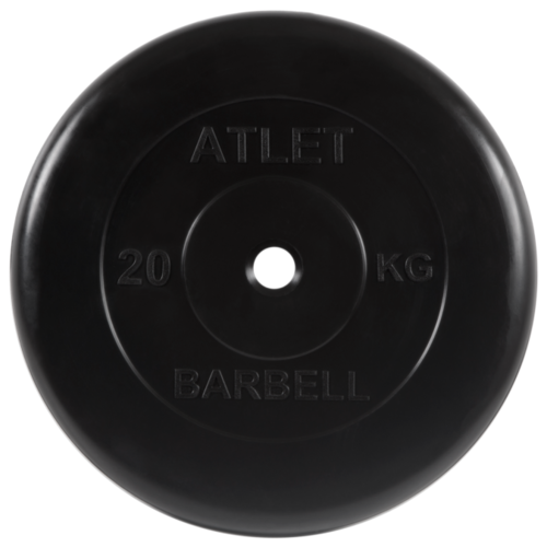 Диск MB Barbell MB-AtletB26 20 кг черный диск mb barbell mb atletb26 10 кг черный