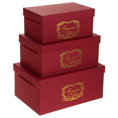 Набор подарочных коробок Yiwu Zhousima Crafts прямоугольные, 3 шт бордовый