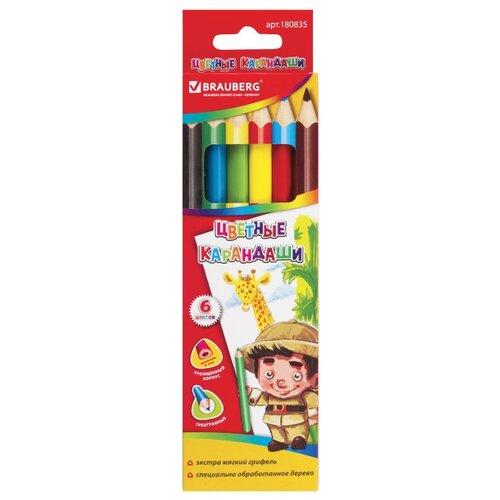 Купить BRAUBERG Карандаши цветные утолщенные 6 цветов (180835), Цветные карандаши