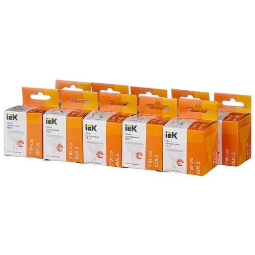 Упаковка светодиодных ламп 10 шт IEK LLE-230-30, GU5.3, MR16, 7Вт