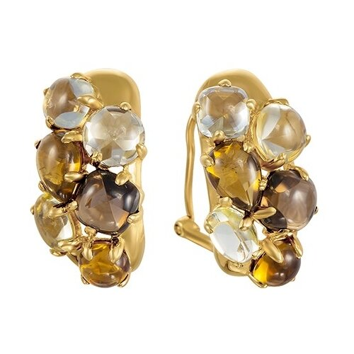 Фото - JV Серьги из золота 585 пробы с цветными полудрагоценными камнями AAS-3820E-SR-MC-YG серьги с полудрагоценными камнями