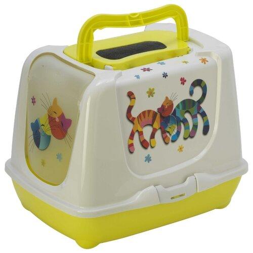 Туалет-домик для кошек Moderna Trendy Cat Friends Forever 57.4х44.8х42.7 см лимонный