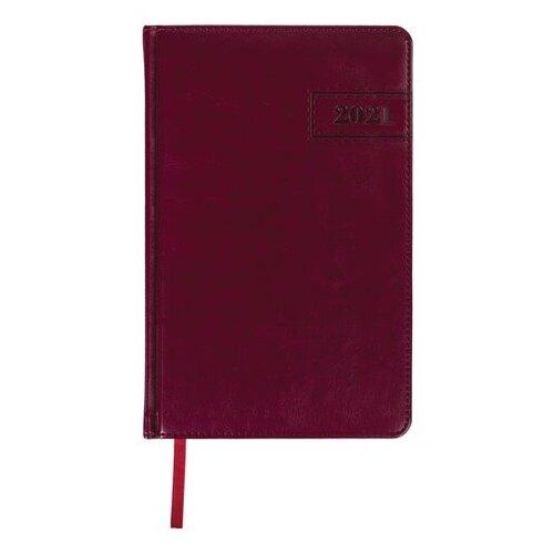 Купить Ежедневник BRAUBERG Imperial датированный на 2021 год, искусственная кожа, А5, 168 листов, бордовый, Ежедневники, записные книжки