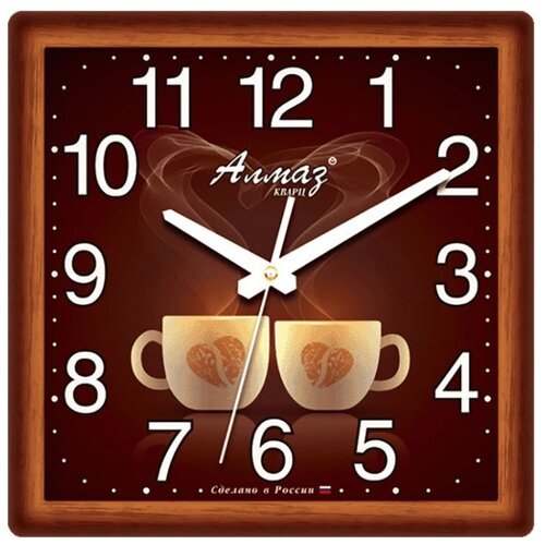 Часы настенные кварцевые Алмаз M16 коричневый/белый часы настенные кварцевые алмаз c51 c54 коричневый белый