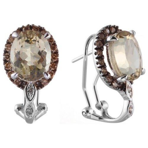 цена на JV Серьги с кварцами и бриллиантами из белого золота E7191K-30-DN-LQ-WG