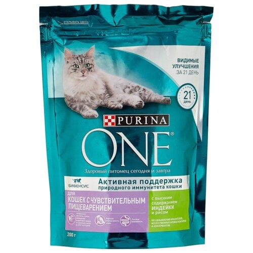Корм для кошек Purina ONE при чувствительном пищеварении, с индейкой, с рисом 200 г purina one сухой корм purina one для взрослых кошек с чувствительным пищеварением с индейкой и рисом 750 г