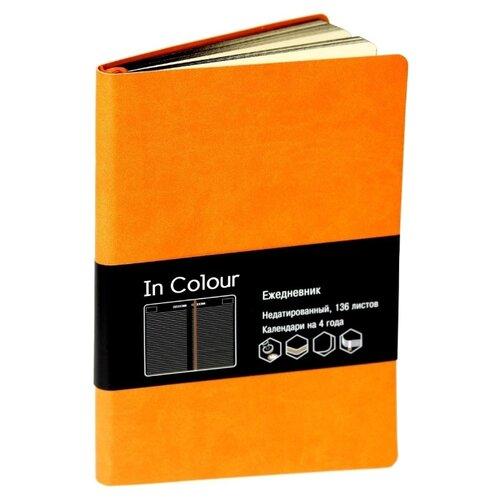 Ежедневник Listoff In Colour недатированный, искусственная кожа, А5, 136 листов, оранжевый ежедневник а5 152л недатированный listoff classic иск кожа сиреневый