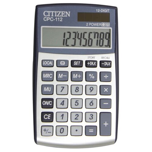 Калькулятор карманный CITIZEN CPC-112 серебристый