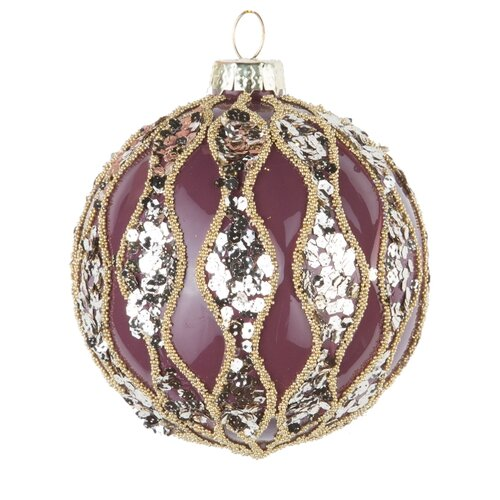 Набор шаров KARLSBACH 08496, фиолетовый с серебряными пайетками