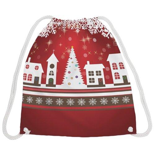 Купить JoyArty Рюкзак-мешок Рождественский город (bpa_19380) красный/белый/коричневый, Мешки для обуви и формы