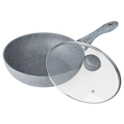 Сковорода-вок Bekker BK-7910 30 см с крышкой, серый сковорода вок d 30 см bekker bk 7910