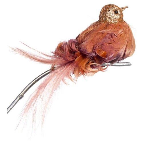Елочная игрушка Goodwill Птичка на клипсе 17 см (A 54113) оранжевый.