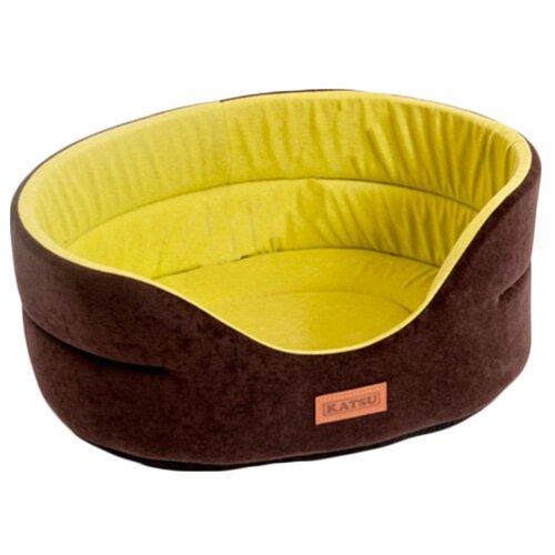 Лежак для собак Katsu Suedine L 58х52х21 см коричневый/оливковый